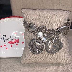 Tra-la-ra 4 Coins & 5 Charms Silver Bracelet